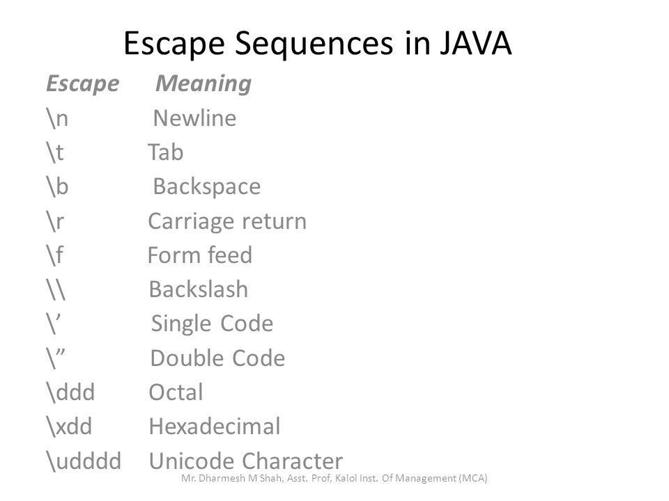 Escape Sequences in JAVA Escape Meaning \n Newline \t Tab \b Backspace \r Carriage return \f Form feed \\ Backslash \ Single Code \ Double Code \ddd Octal \xdd Hexadecimal \udddd Unicode Character Mr.