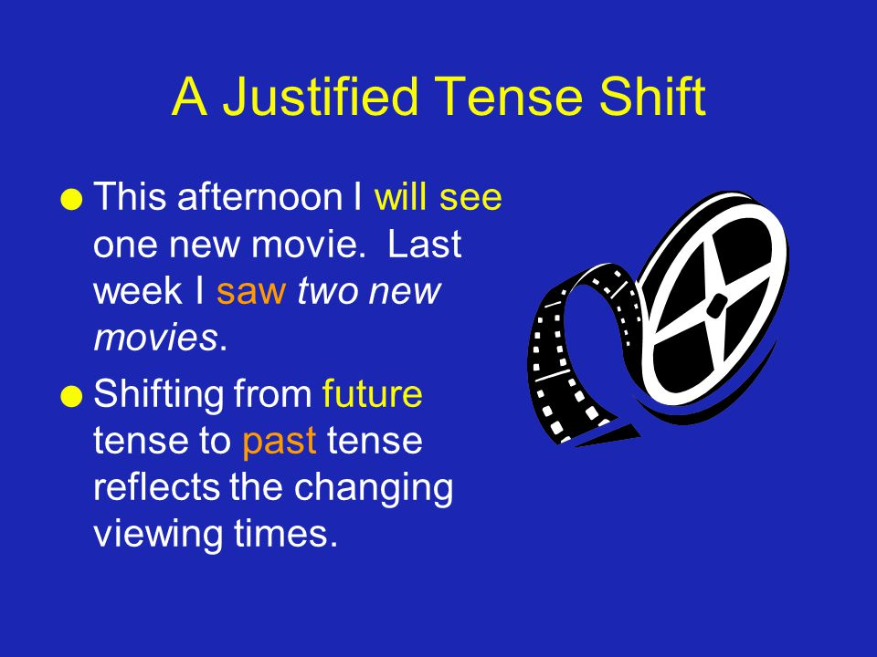 A Justified Tense Shift l This afternoon I will see one new movie. Last week I saw two new movies. l Shifting from future tense to past tense reflects