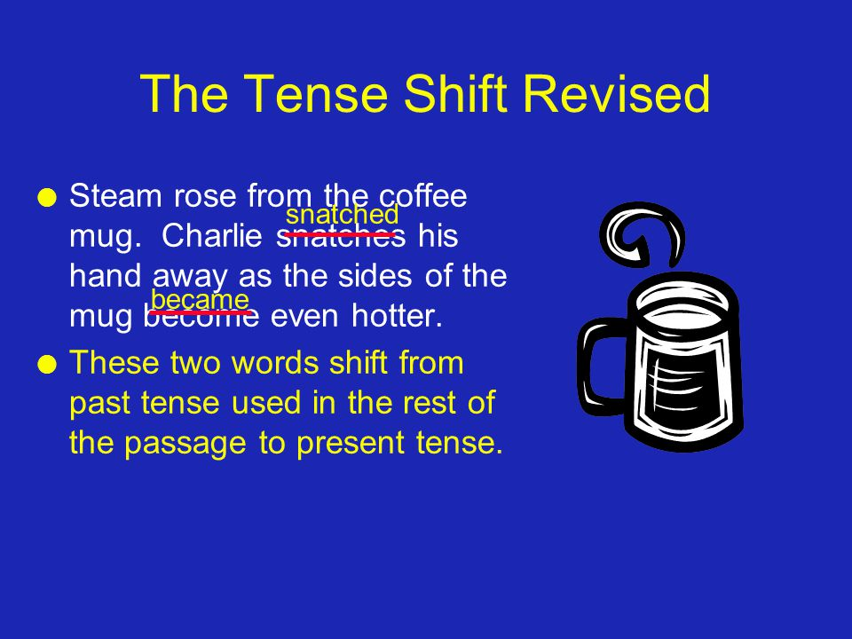 The Tense Shift Revised l Steam rose from the coffee mug.