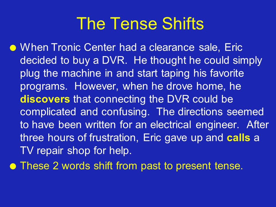 The Tense Shifts l When Tronic Center had a clearance sale, Eric decided to buy a DVR.