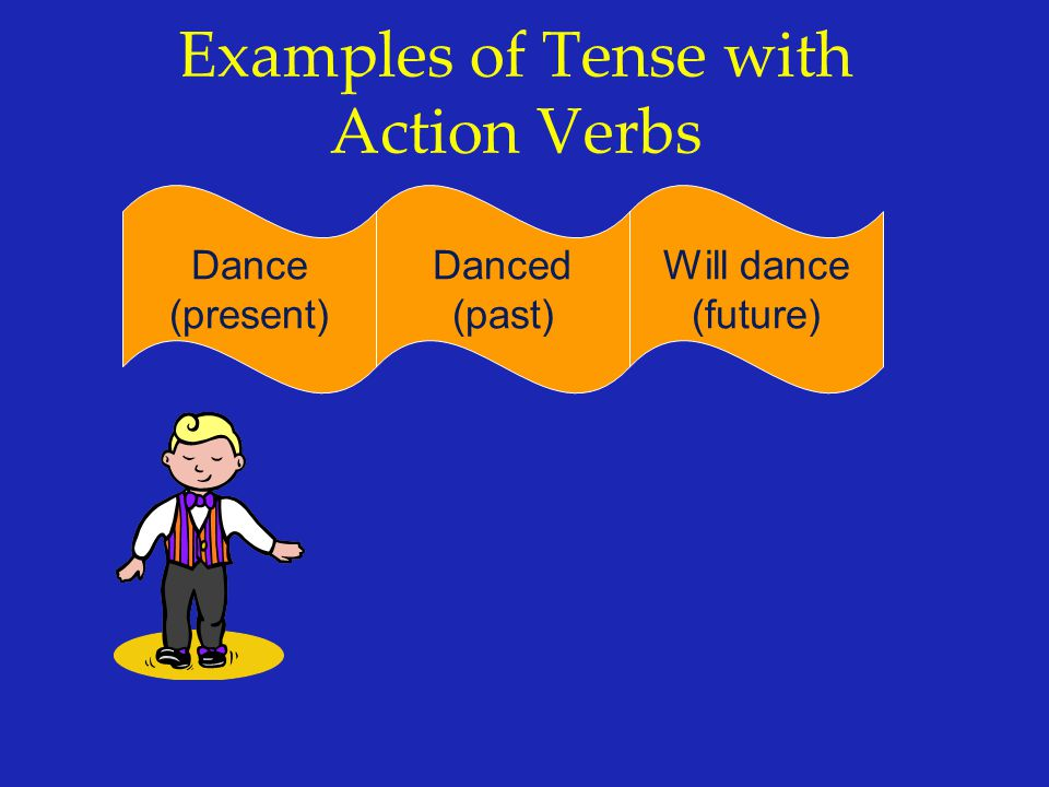 Examples of Tense with Action Verbs Dance (present) Will dance (future) Danced (past)