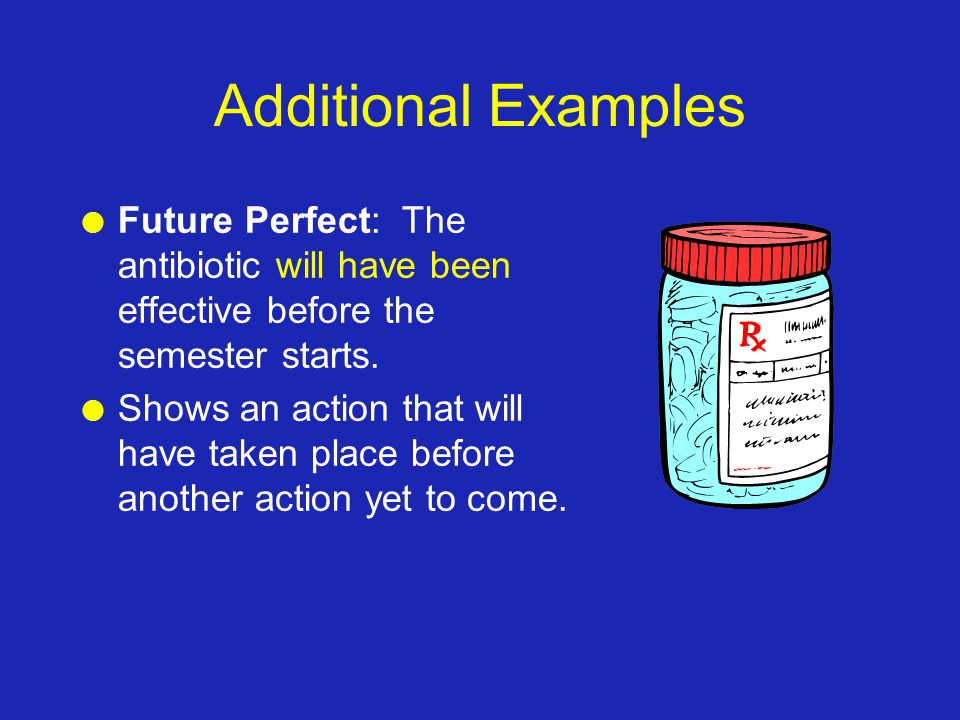 Additional Examples l Future Perfect: The antibiotic will have been effective before the semester starts.