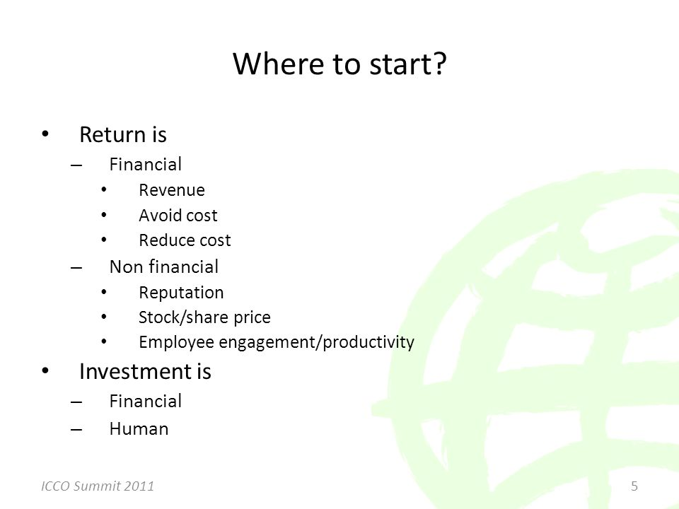 Return is – Financial Revenue Avoid cost Reduce cost – Non financial Reputation Stock/share price Employee engagement/productivity Investment is – Financial – Human Where to start.