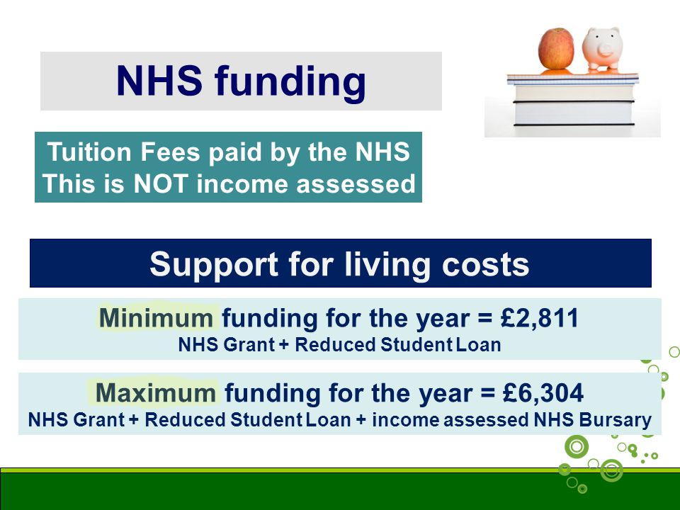 NHS funding Minimum funding for the year = £2,811 NHS Grant + Reduced Student Loan Maximum funding for the year = £6,304 NHS Grant + Reduced Student Loan + income assessed NHS Bursary Tuition Fees paid by the NHS This is NOT income assessed Support for living costs