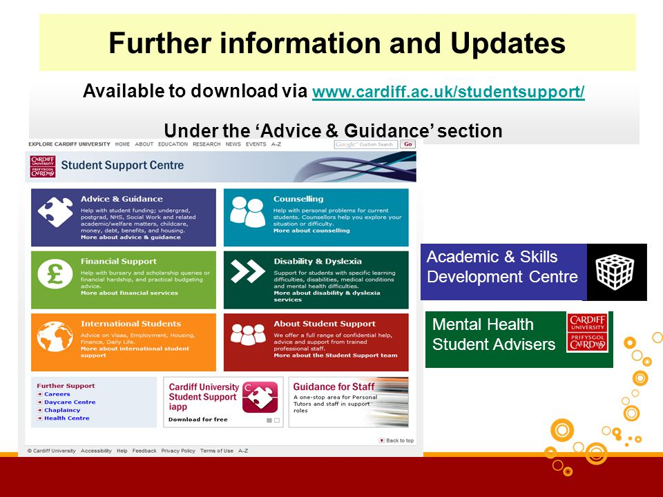 Further information and Updates Available to download via www.cardiff.ac.uk/studentsupport/ www.cardiff.ac.uk/studentsupport/ Under the Advice & Guidance section Academic & Skills Development Centre Mental Health Student Advisers