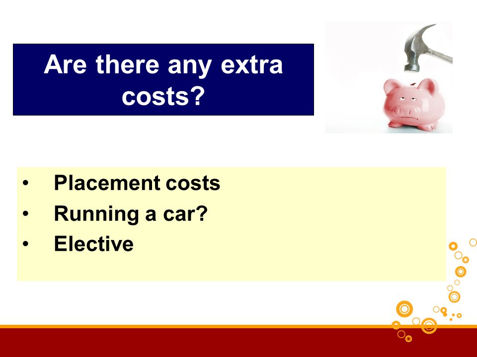 Are there any extra costs? Placement costs Running a car? Elective