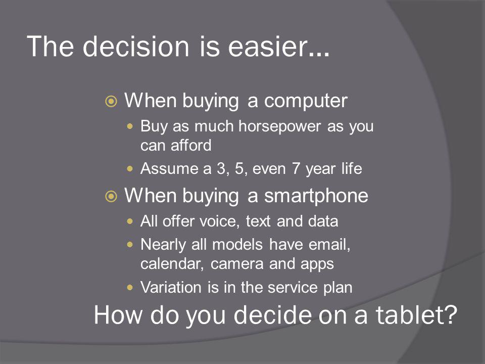The decision is easier… When buying a computer Buy as much horsepower as you can afford Assume a 3, 5, even 7 year life When buying a smartphone All offer voice, text and data Nearly all models have email, calendar, camera and apps Variation is in the service plan How do you decide on a tablet?
