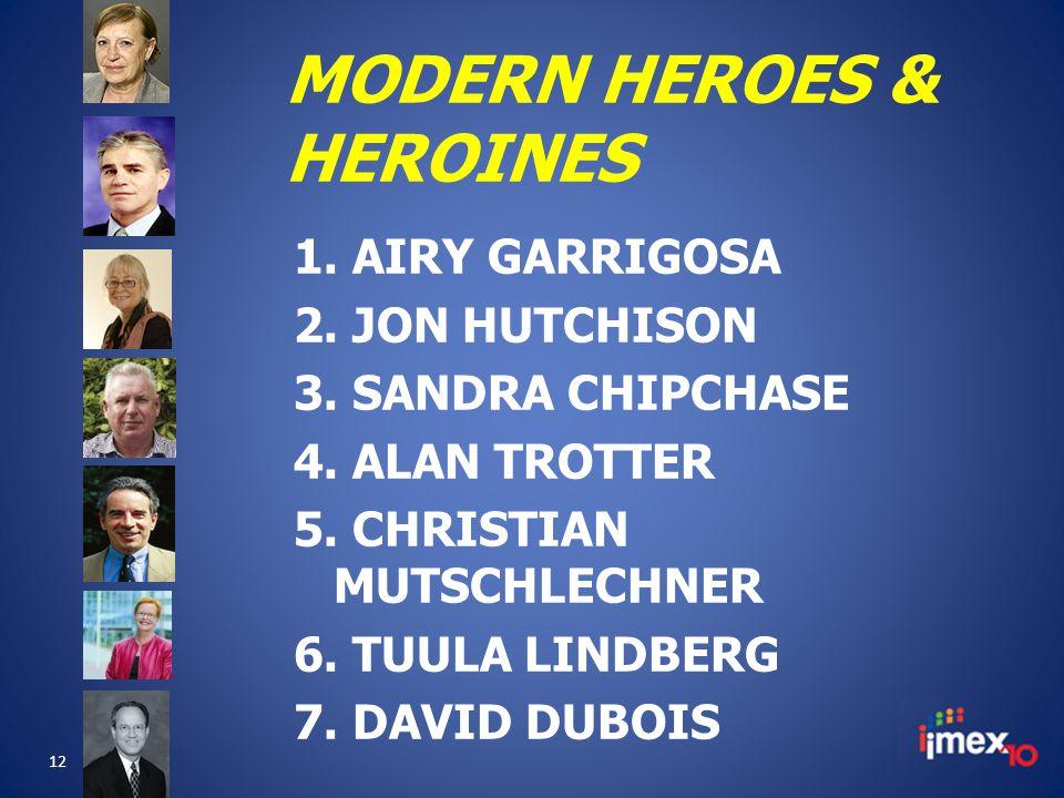 MODERN HEROES & HEROINES 1. AIRY GARRIGOSA 2. JON HUTCHISON 3.