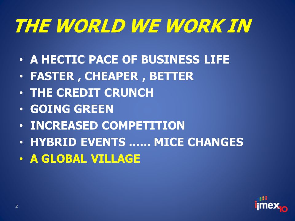 THE WORLD WE WORK IN A HECTIC PACE OF BUSINESS LIFE FASTER, CHEAPER, BETTER THE CREDIT CRUNCH GOING GREEN INCREASED COMPETITION HYBRID EVENTS......