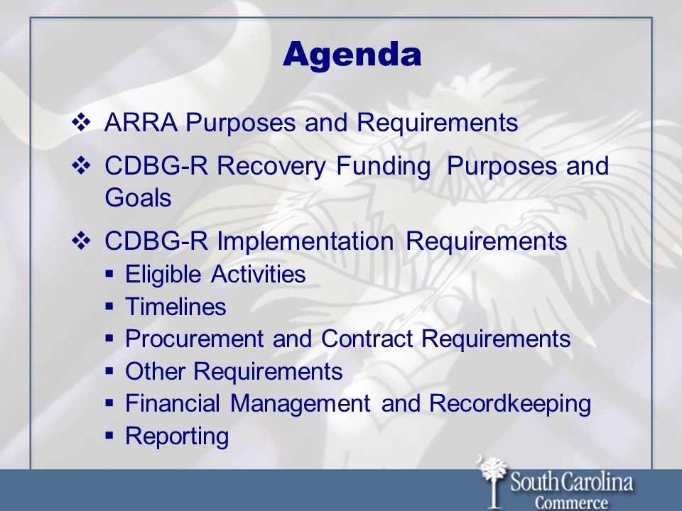 Agenda ARRA Purposes and Requirements CDBG-R Recovery Funding Purposes and Goals CDBG-R Implementation Requirements Eligible Activities Timelines Procurement and Contract Requirements Other Requirements Financial Management and Recordkeeping Reporting