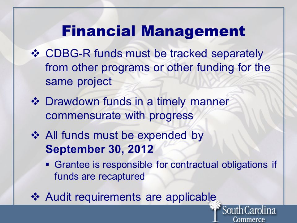 Financial Management CDBG-R funds must be tracked separately from other programs or other funding for the same project Drawdown funds in a timely mann