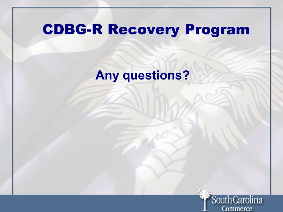 CDBG-R Recovery Program Any questions?