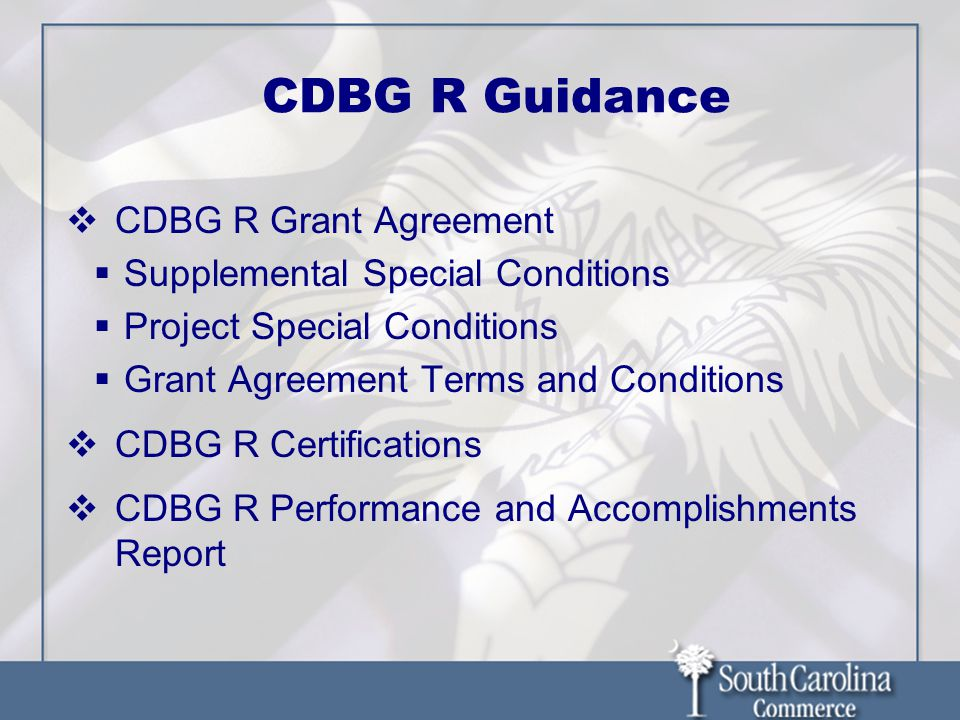 CDBG R Guidance CDBG R Grant Agreement Supplemental Special Conditions Project Special Conditions Grant Agreement Terms and Conditions CDBG R Certific
