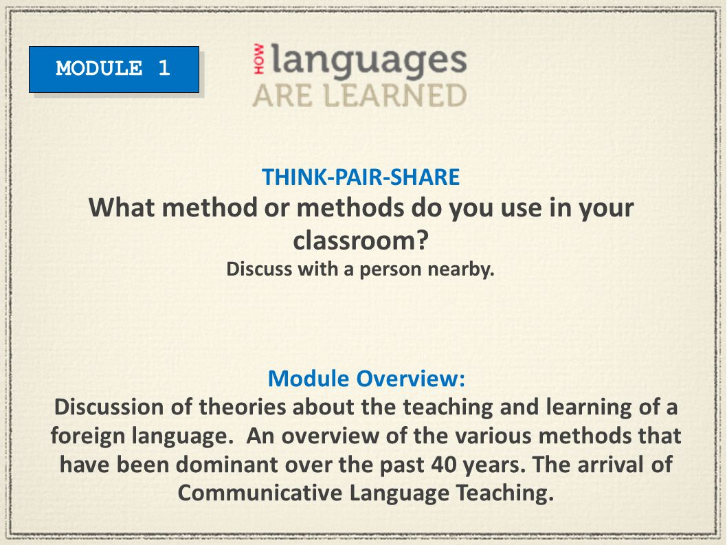 Module Overview: Discussion of theories about the teaching and learning of a foreign language. An overview of the various methods that have been domin