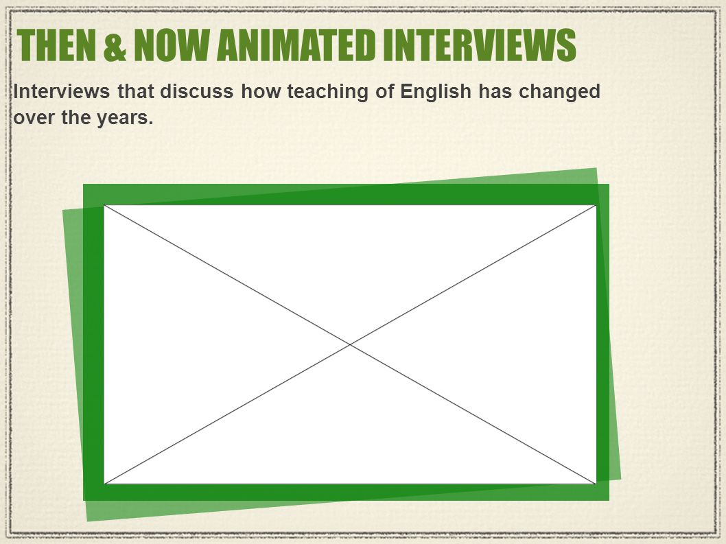 THEN & NOW ANIMATED INTERVIEWS Interviews that discuss how teaching of English has changed over the years.