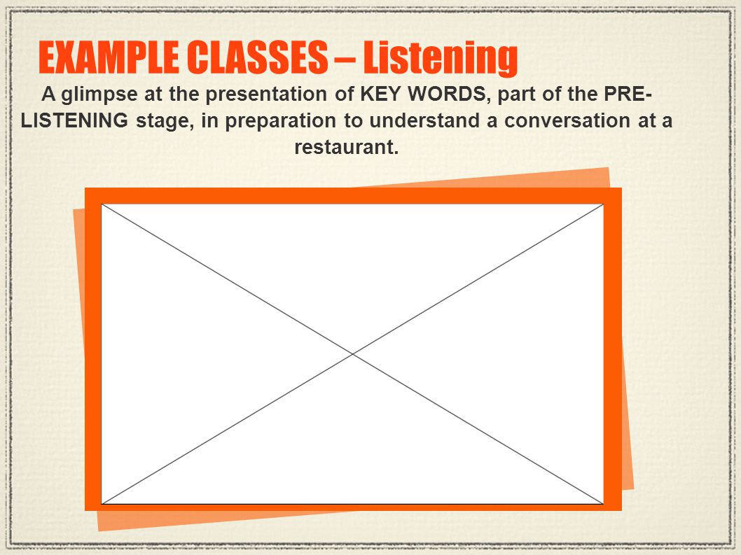 A glimpse at the presentation of KEY WORDS, part of the PRE- LISTENING stage, in preparation to understand a conversation at a restaurant. EXAMPLE CLA