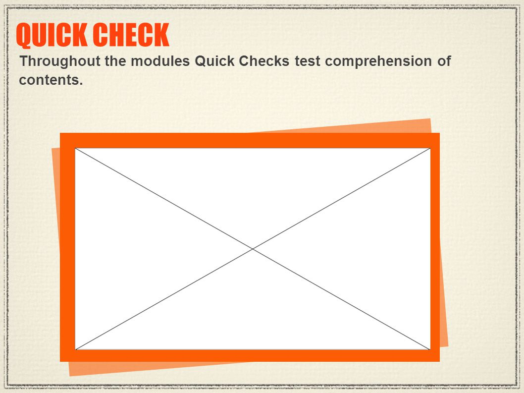 QUICK CHECK Throughout the modules Quick Checks test comprehension of contents.