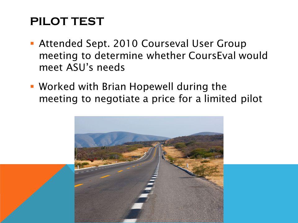 PILOT TEST Attended Sept.