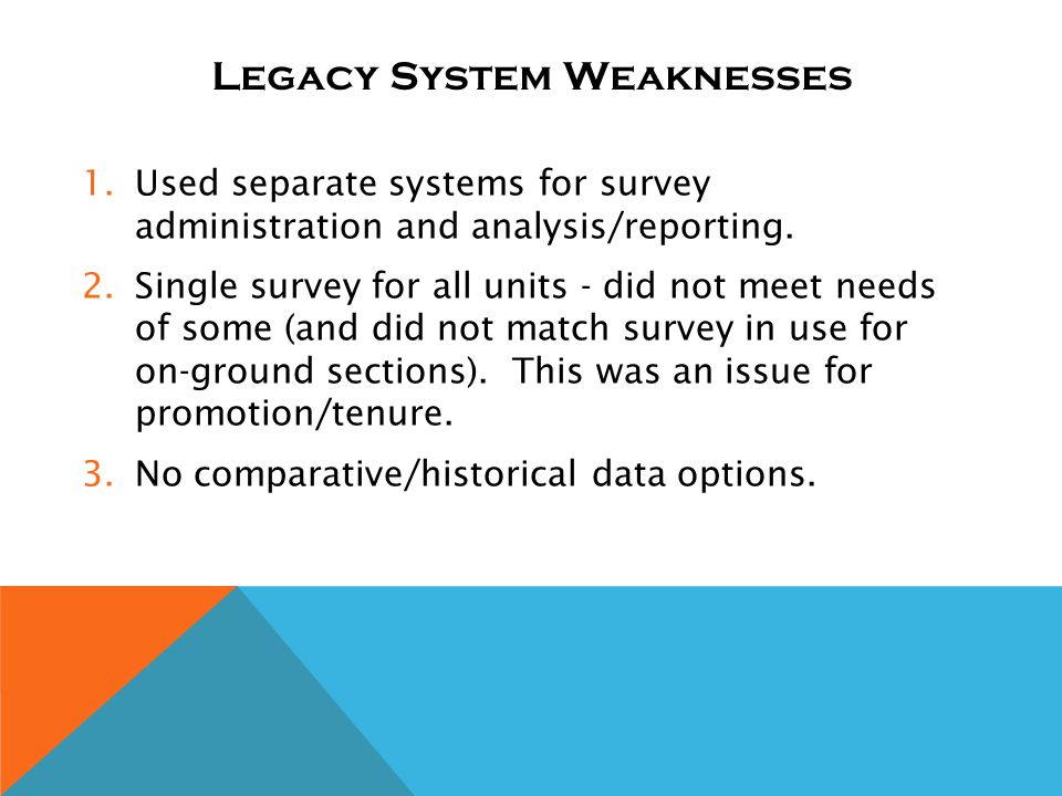 Legacy System Weaknesses 1.Used separate systems for survey administration and analysis/reporting.