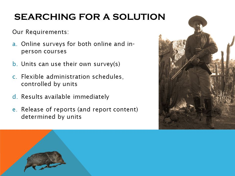 Our Requirements: a.Online surveys for both online and in- person courses b.Units can use their own survey(s) c.Flexible administration schedules, controlled by units d.Results available immediately e.Release of reports (and report content) determined by units SEARCHING FOR A SOLUTION