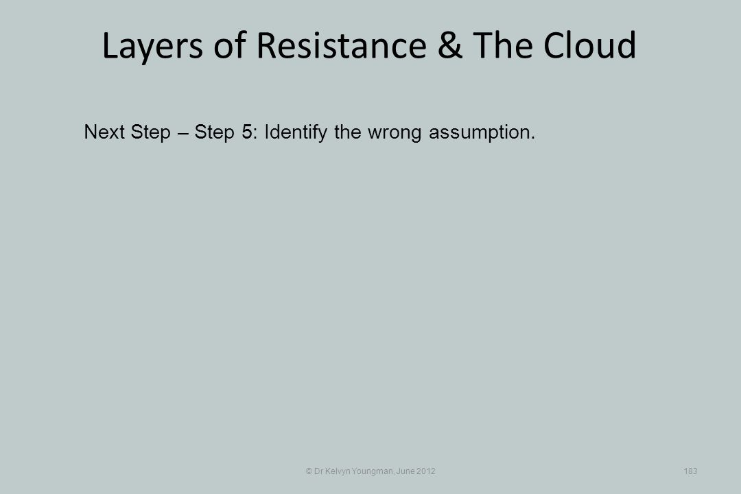 © Dr Kelvyn Youngman, June 2012183 Layers of Resistance & The Cloud Next Step – Step 5: Identify the wrong assumption.