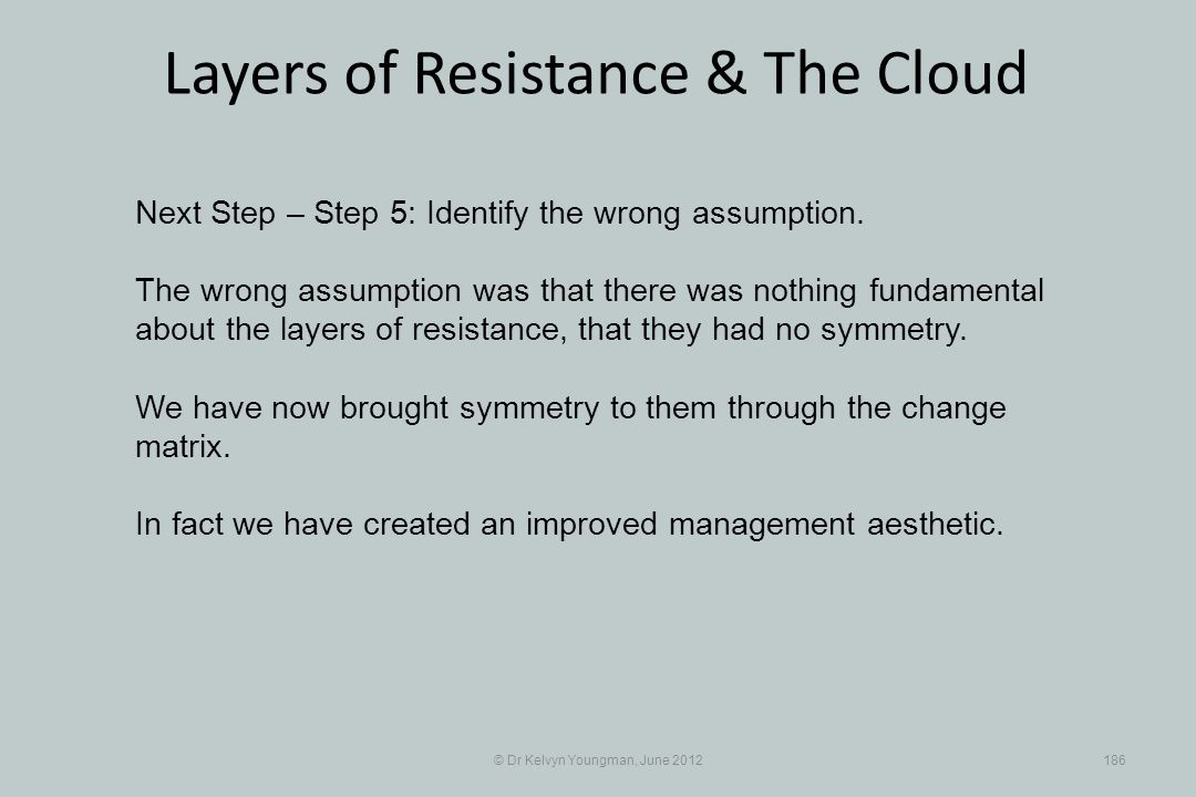 © Dr Kelvyn Youngman, June 2012186 Layers of Resistance & The Cloud Next Step – Step 5: Identify the wrong assumption.