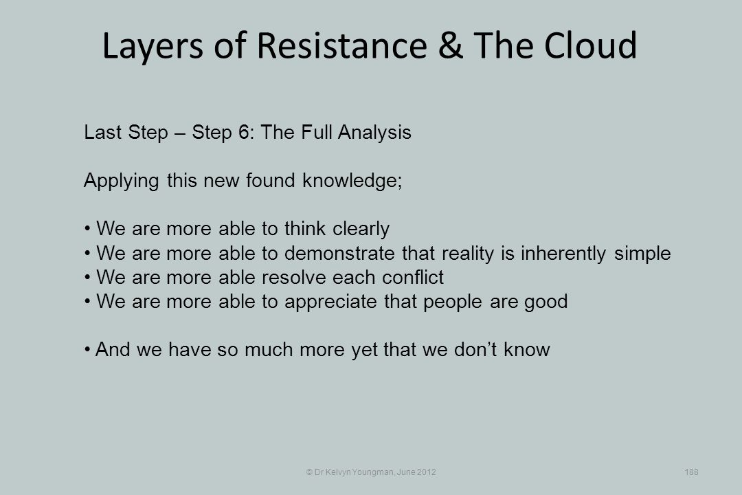 © Dr Kelvyn Youngman, June 2012188 Layers of Resistance & The Cloud Last Step – Step 6: The Full Analysis Applying this new found knowledge; We are mo