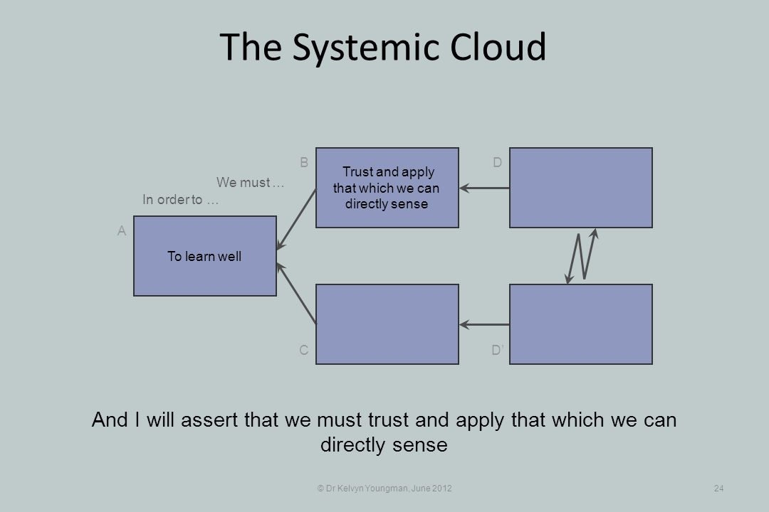 © Dr Kelvyn Youngman, June 201224 The Systemic Cloud Trust and apply that which we can directly sense B C A D D And I will assert that we must trust a