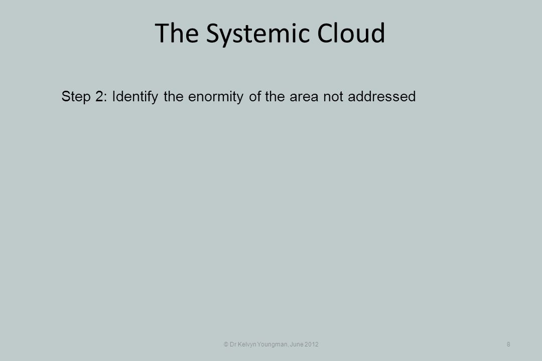 © Dr Kelvyn Youngman, June 20128 The Systemic Cloud Step 2: Identify the enormity of the area not addressed