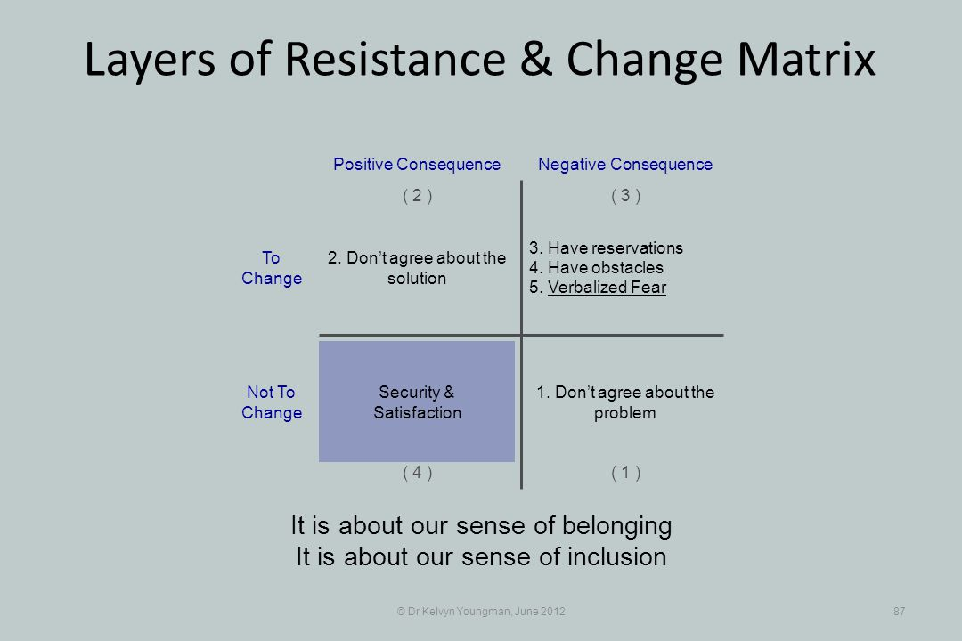 © Dr Kelvyn Youngman, June 201287 Layers of Resistance & Change Matrix It is about our sense of belonging It is about our sense of inclusion 3. Have r