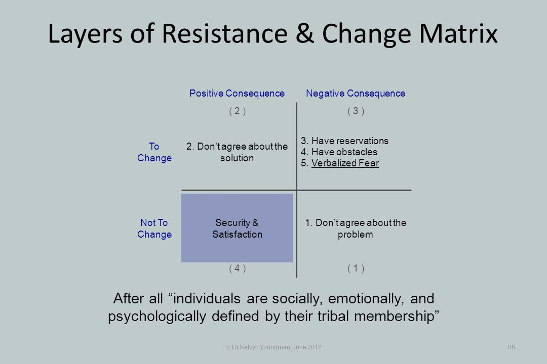 © Dr Kelvyn Youngman, June 201288 Layers of Resistance & Change Matrix After all individuals are socially, emotionally, and psychologically defined by their tribal membership 3.