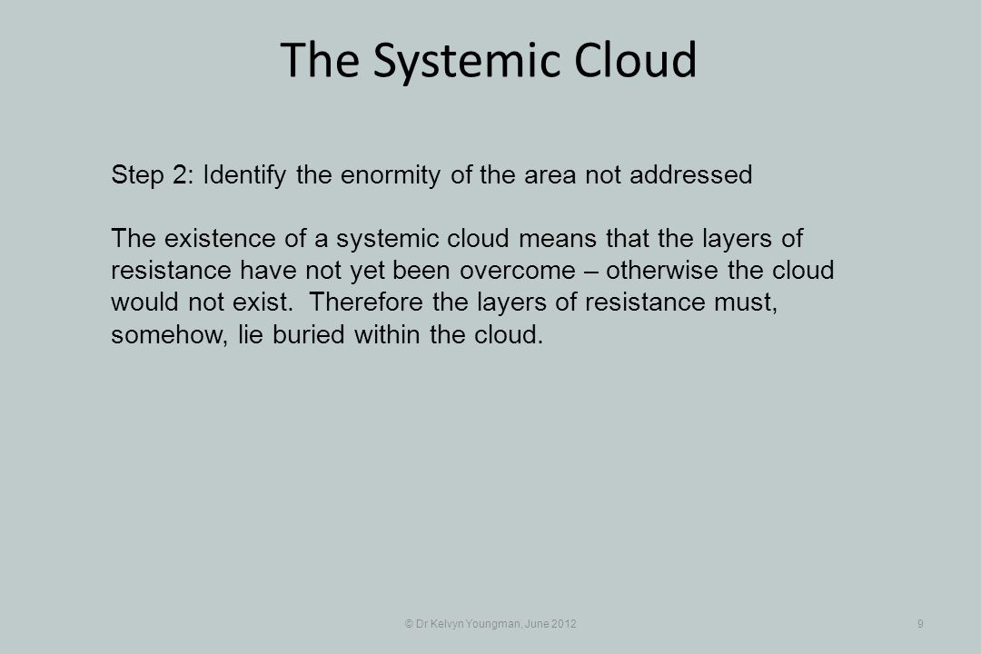 © Dr Kelvyn Youngman, June 20129 The Systemic Cloud Step 2: Identify the enormity of the area not addressed The existence of a systemic cloud means th
