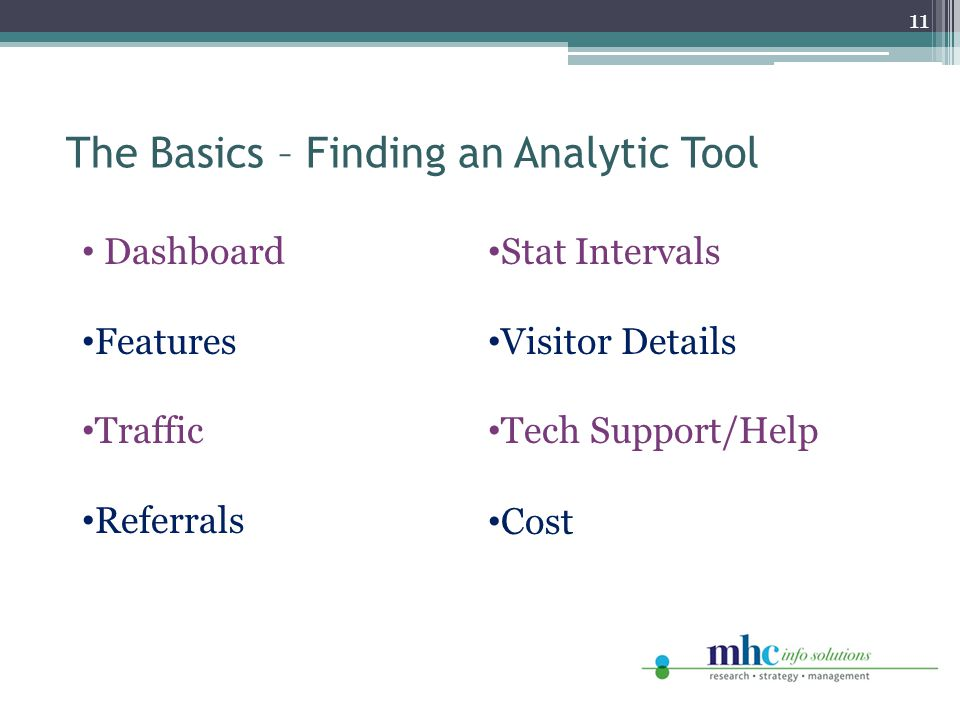 The Basics – Finding an Analytic Tool 11 Dashboard Features Traffic Referrals Stat Intervals Visitor Details Tech Support/Help Cost