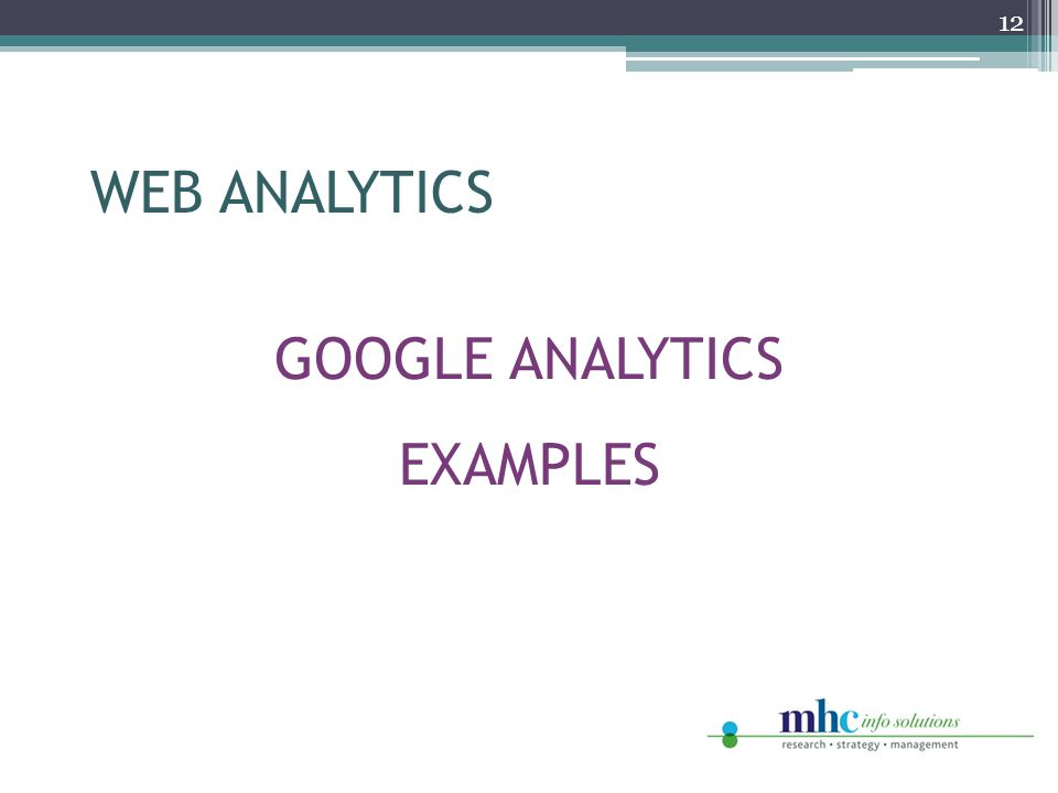GOOGLE ANALYTICS EXAMPLES 12 WEB ANALYTICS
