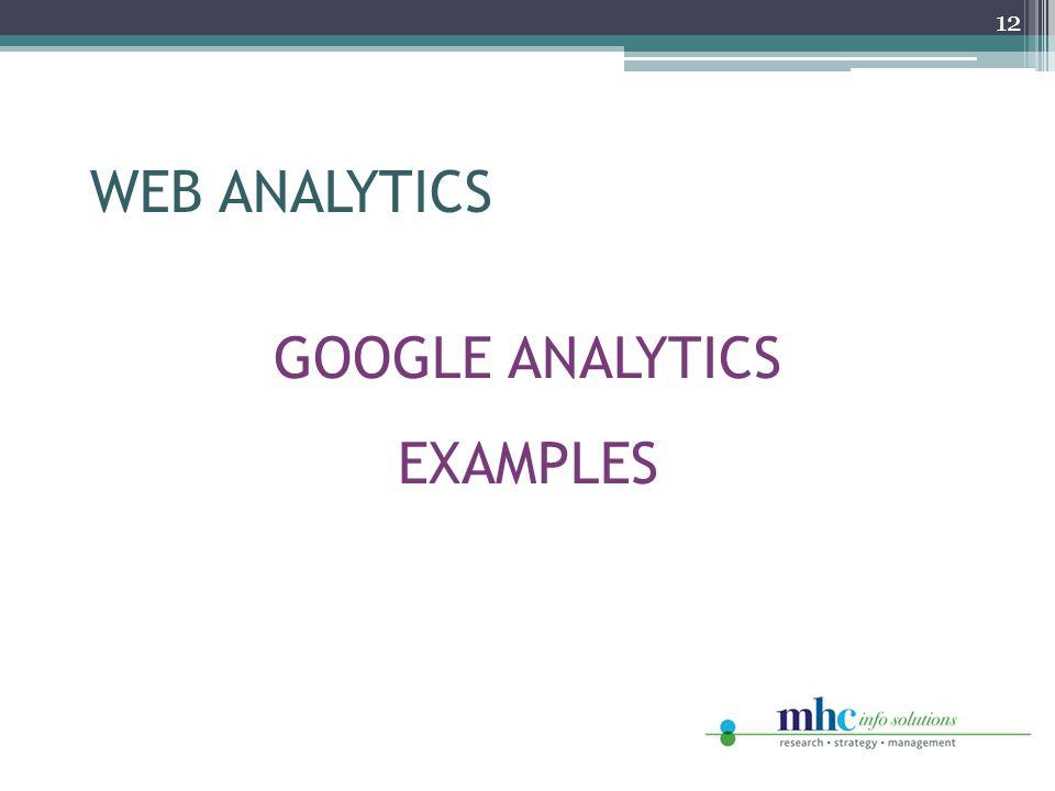 GOOGLE ANALYTICS EXAMPLES 12 WEB ANALYTICS