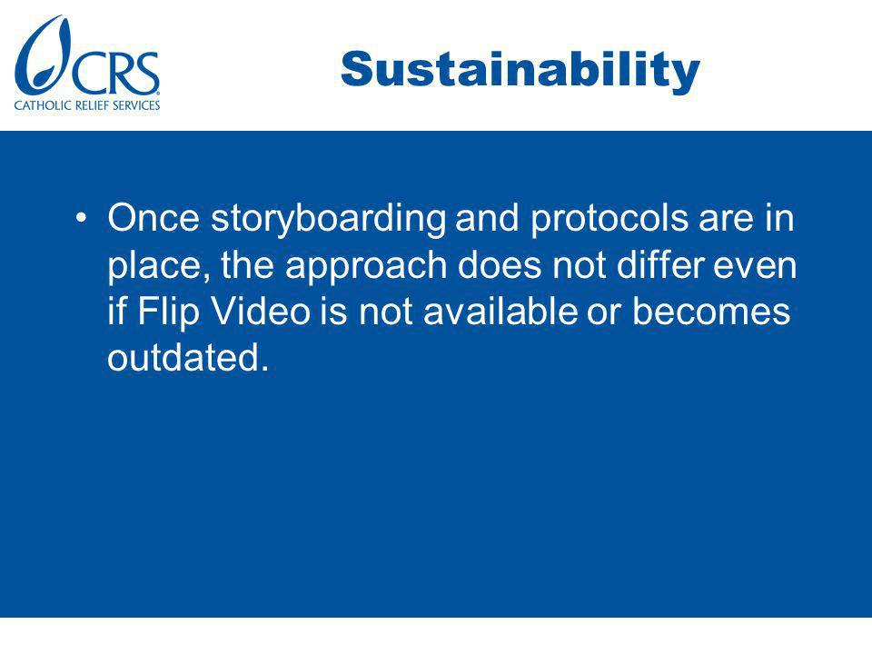Summary and Close CRS/JWBG has produced at least 8 Flip Videos in the last 9 months to assist in project reporting; fundraising; maneuvering around political sensitivities; informing other CRS/JWBG staff of processes; and documenting experiences in closed sectors.