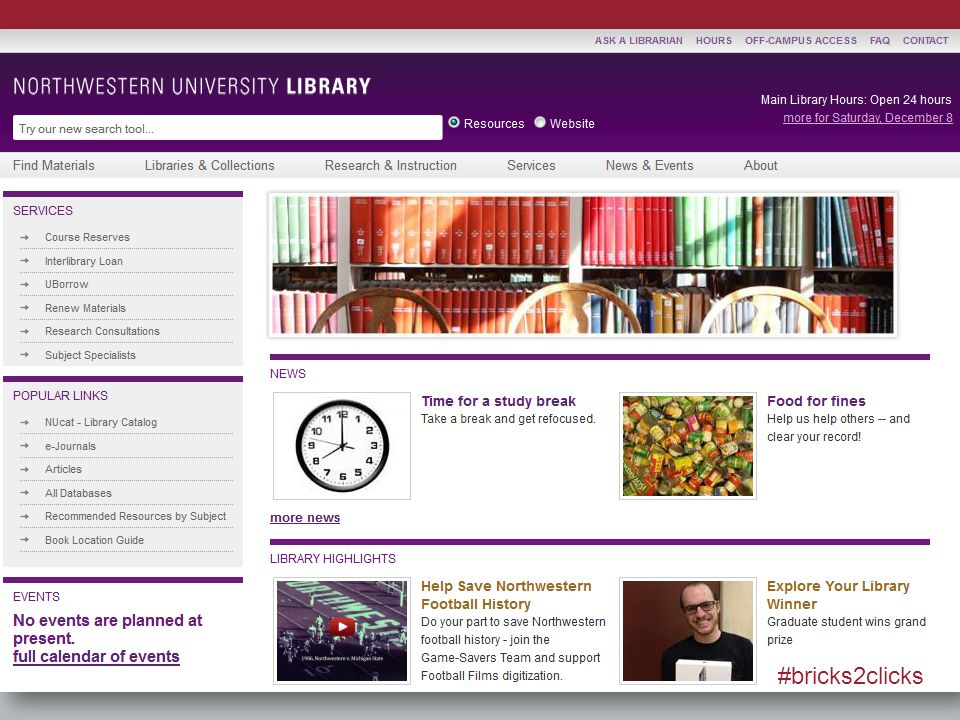 Patron-driven acquisition –Being used by University of Utah & Texas A&M Patron discovers a title they want via online services, clicks on the title, & the library purchases the e-copy at that time…but not until that transaction Perhaps eventually allowing for one-click donations of books/e-books #bricks2clicks