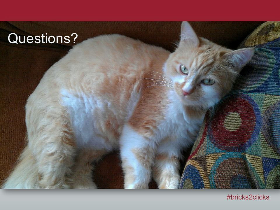 Questions? #bricks2clicks Questions?