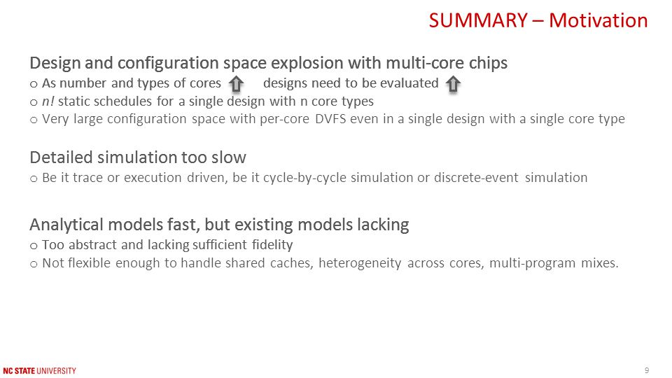 Design and configuration space explosion with multi-core chips o As number and types of cores designs need to be evaluated Design and configuration space explosion with multi-core chips o As number and types of cores designs need to be evaluated o n.