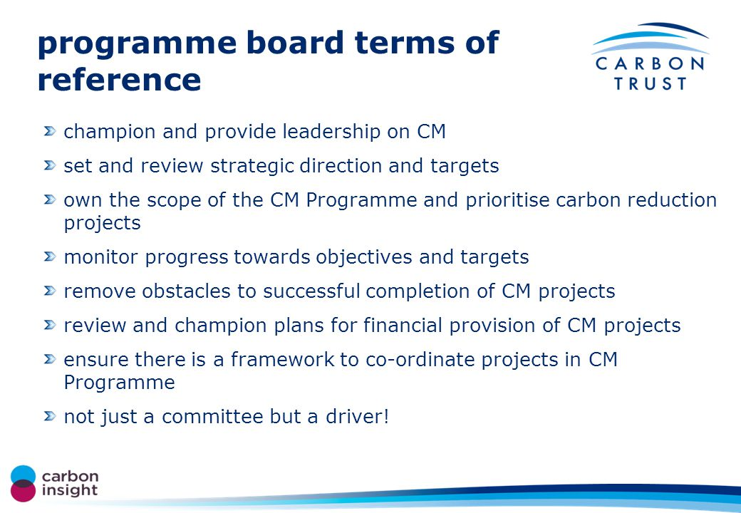 our drivers and targets role of the programme board our drivers our targets