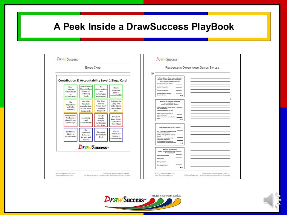 DrawSuccess Materials: PlayBooks and Color Profiles Every participant receives a DrawSuccess PlayBook and set of Color Profiles.