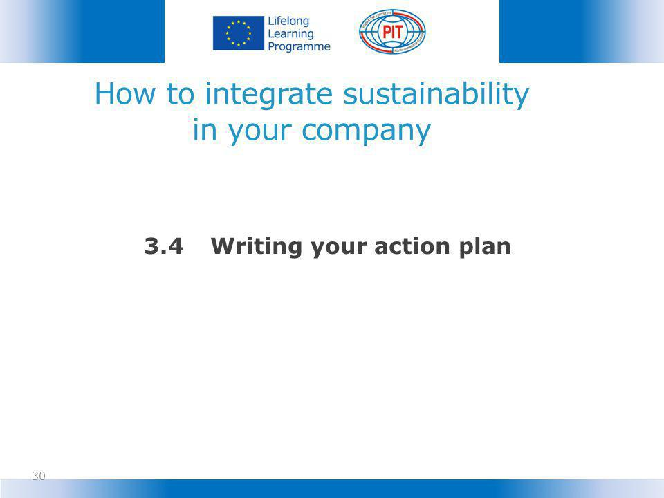 How to integrate sustainability in your company 30 3.4Writing your action plan