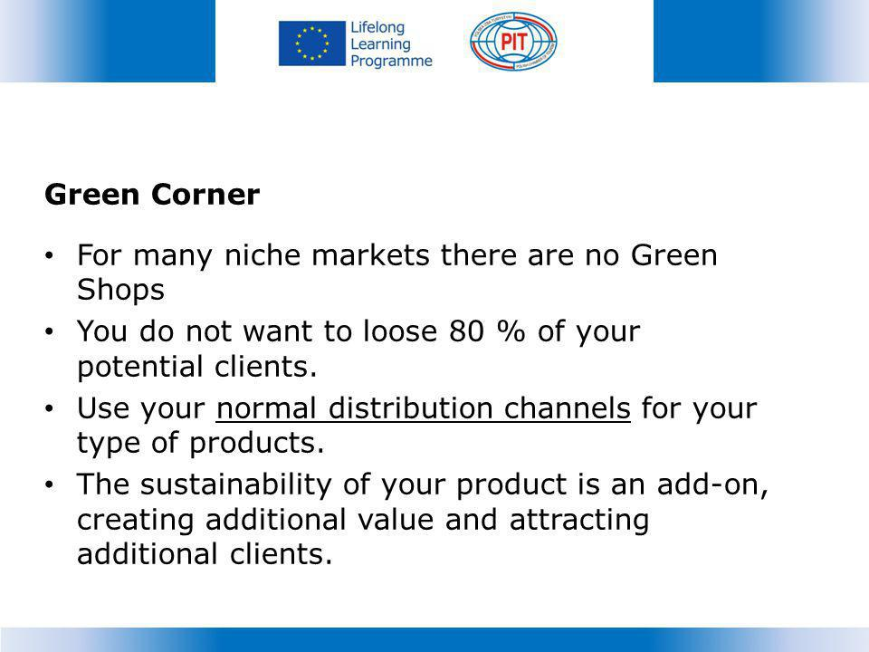 Green Corner For many niche markets there are no Green Shops You do not want to loose 80 % of your potential clients.