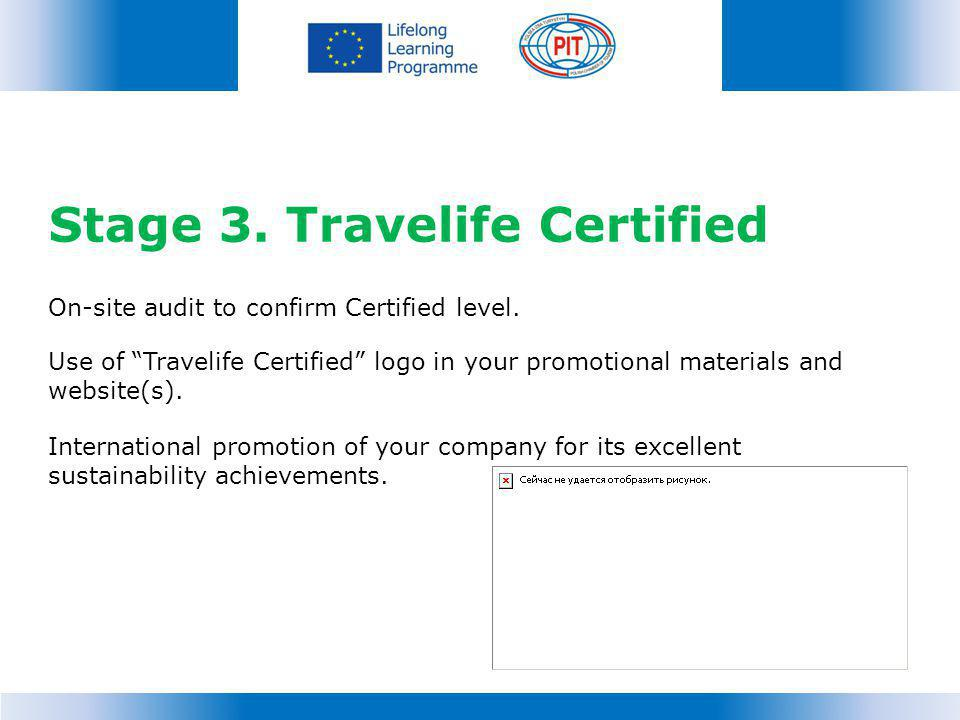 Stage 3.Travelife Certified On-site audit to confirm Certified level.