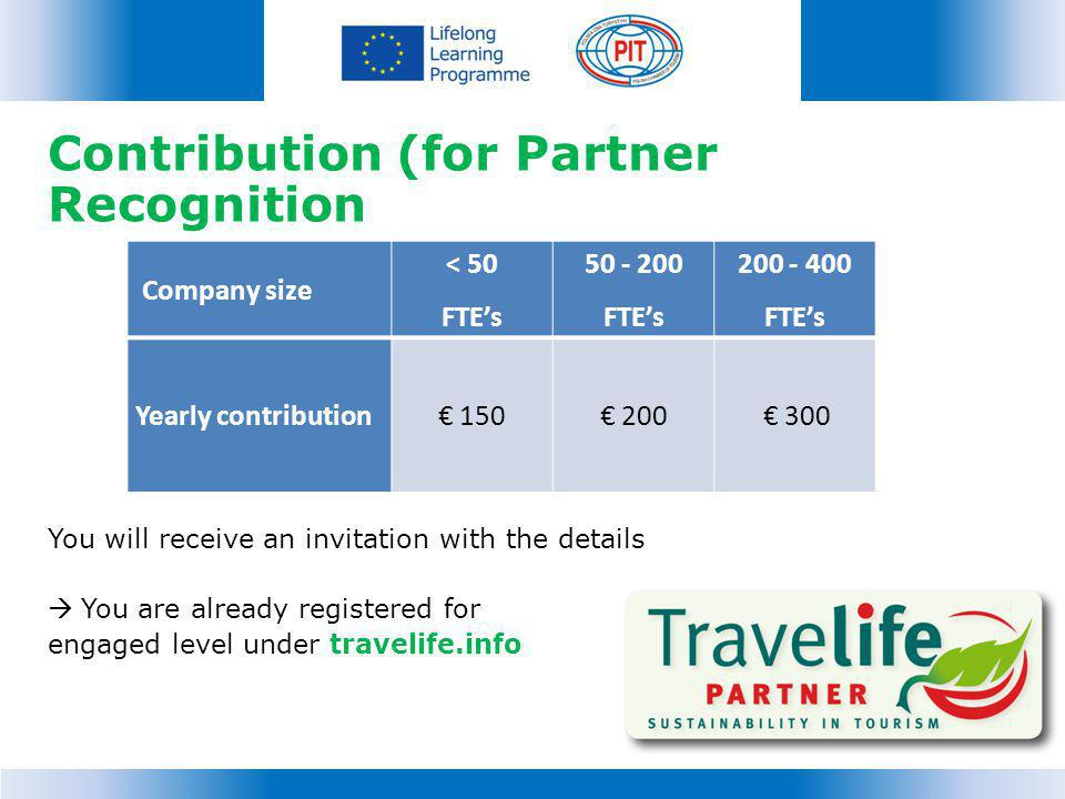 Contribution (for Partner Recognition You will receive an invitation with the details You are already registered for engaged level under travelife.info Company size < 50 FTEs 50 - 200 FTEs 200 - 400 FTEs Yearly contribution 150 200 300