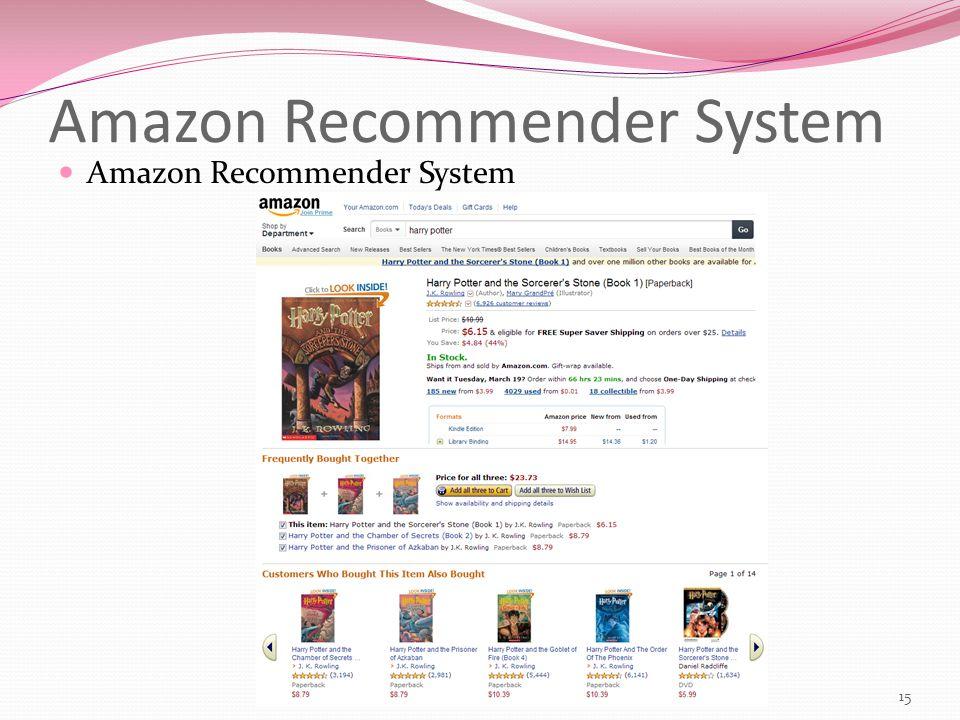 Amazon Recommender System 15 Amazon Recommender System
