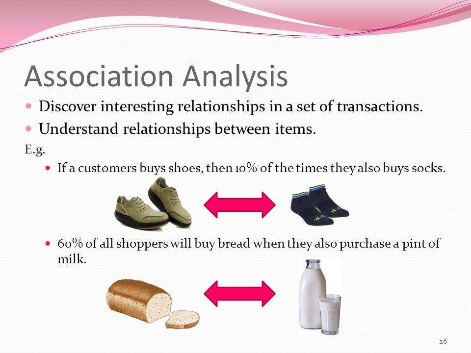Association Analysis Discover interesting relationships in a set of transactions.