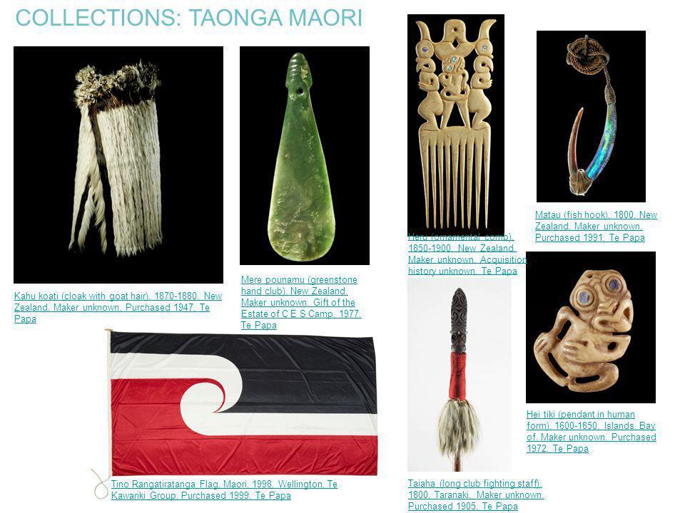 COLLECTIONS: TAONGA MAORI Kahu koati (cloak with goat hair), 1870-1880, New Zealand. Maker unknown. Purchased 1947. Te Papa Taiaha (long club fighting