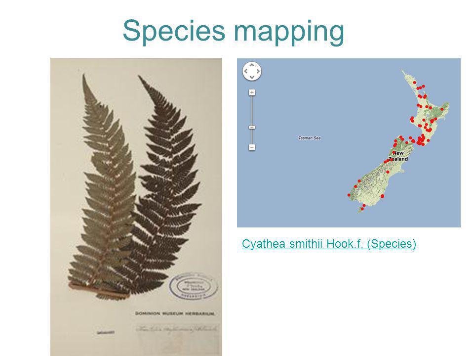Species mapping Cyathea smithii Hook.f. (Species)