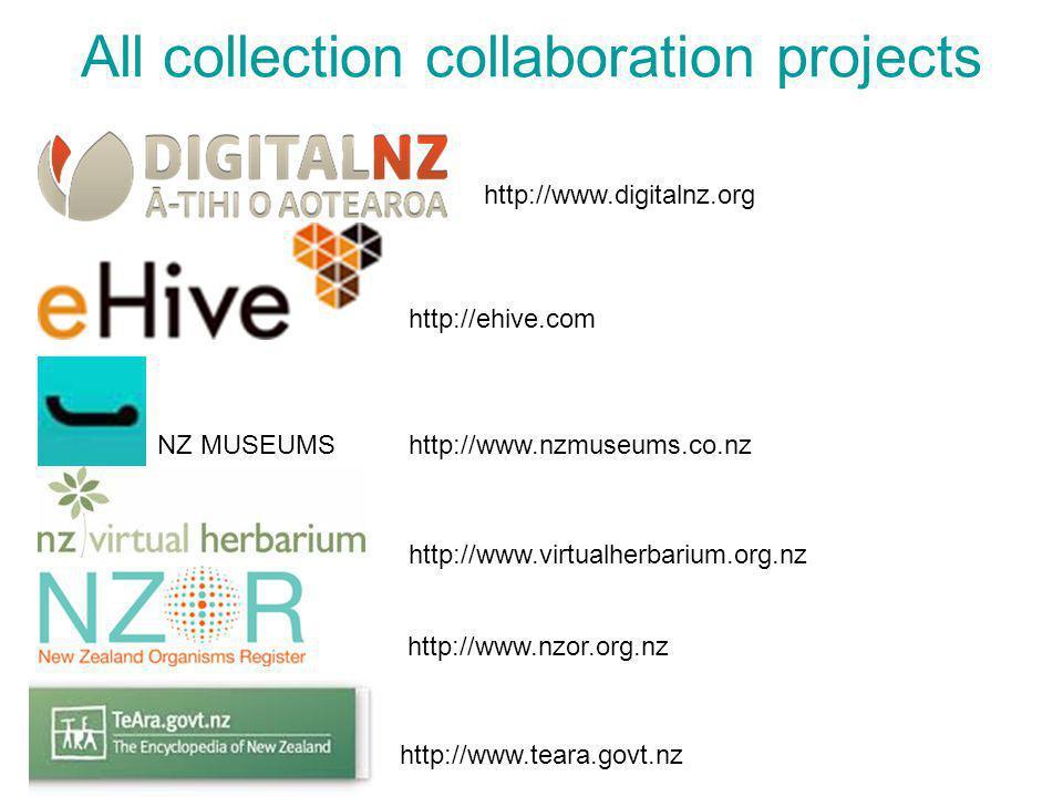 All collection collaboration projects http://www.digitalnz.org http://www.teara.govt.nz http://ehive.com NZ MUSEUMShttp://www.nzmuseums.co.nz http://www.virtualherbarium.org.nz http://www.nzor.org.nz